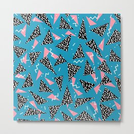 80s Abstract memphis pattern trendy modern pattern print pink black and blue Metal Print