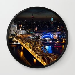Cologne Cathedral and Hohenzollern Bridge Wall Clock