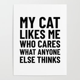 My Cat Likes Me Who Cares What Anyone Else Thinks Poster
