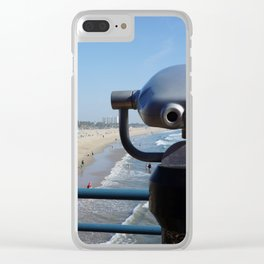 Lookout onto Beach in Santa Monica Clear iPhone Case