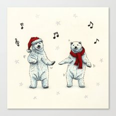 The polar bears wish you a Merry Christmas Canvas Print