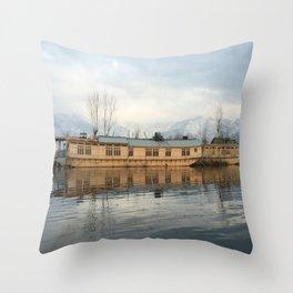 Houseboat on Dal Lake Throw Pillow