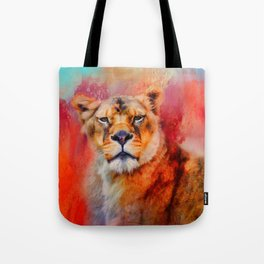 Colorful Expressions Lioness Tote Bag