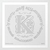Joshua 24:15 - (Letterpress) Monogram K Art Print