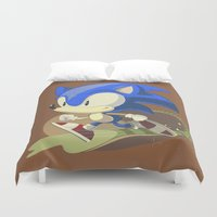 sonic Duvet Covers featuring Sonic by Rod Perich