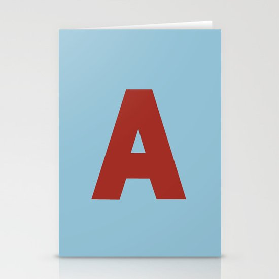 Red A Stationery Cards