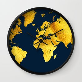 Royal Blue and Gold Map of The World - World Map for your walls Wall Clock