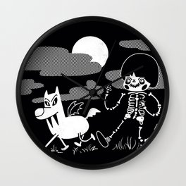Skeleton Kid and Vampire Dog Wall Clock