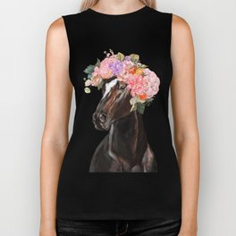 Horse with Flowers Crown in Pink Biker Tank