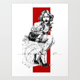 Art Nouveau Lady. Art Print