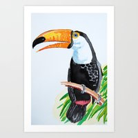 toucan Art Prints featuring Toucan by The Traveling Catburys