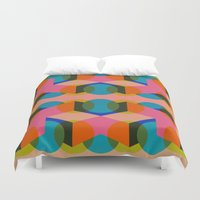 60s Duvet Covers featuring Geometric 60s by Lilly Marfy
