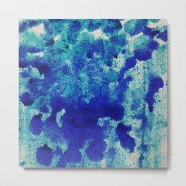 watercolor texture. Blue grunge paper Metal Print
