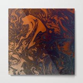 Orange Gradient Marble #marble #orange #blue #planet Metal Print