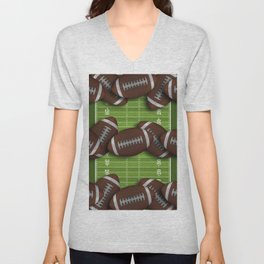 Football Field with Rows of Footballs Unisex V-Neck