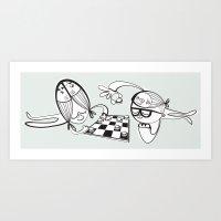 6 Fish Haircuts Art Print