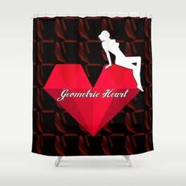 GEOMETRIC HEART BLACK Shower Curtain