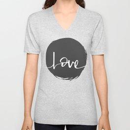 Love Handwritten Black and White Unisex V-Neck