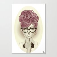 girl Canvas Prints featuring Fu*k U by Giulio Rossi