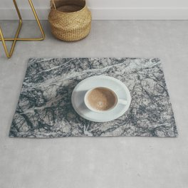 Coffee on Marble Background Rug