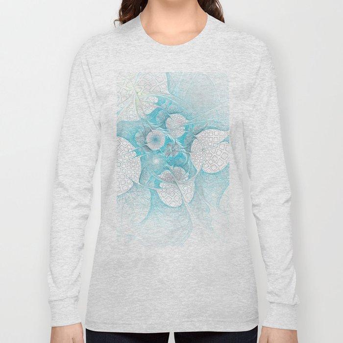 Turquoise Fractal Long Sleeve T-shirt