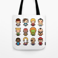 foo fighters Tote Bags featuring The Fighters by Papyroo
