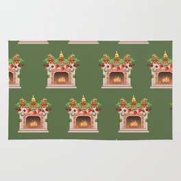 Decorated Christmas Fireplace Rug