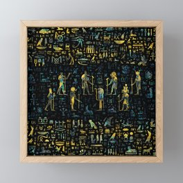 Egyptian Gods and hieroglyphs - Abalone and Gold Framed Mini Art Print