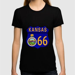 Route 66 Kansas Sign and Flag T-shirt