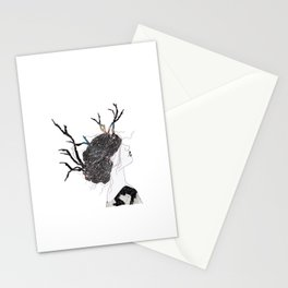 Reindeer in space  Stationery Cards