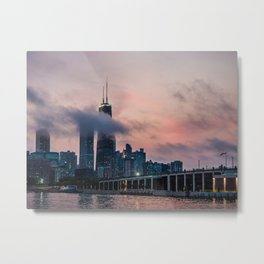 Chicago cityscape under purple sky Metal Print