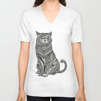 british V-neck T-shirts featuring Polynesian British Shorthair cat by Huebucket