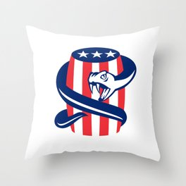Viper Coiling Up Keg USA Flag Retro Throw Pillow