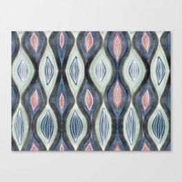 Organic pattern teal salmon Canvas Print