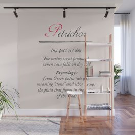 Petrichor, dictionary definition, word meaning illustration, etymology Wall Mural
