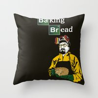 baking Throw Pillows featuring Baking Bread by azra