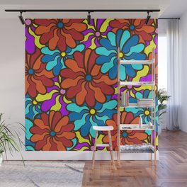 floral background. field of multi colored bright summer colors for the background Wall Mural