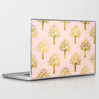 gold foil Laptop & iPad Skins featuring Pink Gold Foil 02 by Aloke Design