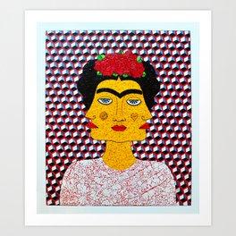 Frida Kahlo al Cubo Art Print