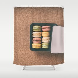 French bakery macarons sweet pastries Shower Curtain