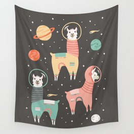 Astronaut Llamas in Space Wall Tapestry