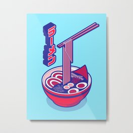 Japanese Ramen Isometric - Red Solid Metal Print