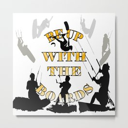 Be Up With The Boards Yellow Text And Kitesurfer Vector Metal Print