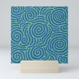 Ripple Effect Pattern Blue and Green Mini Art Print