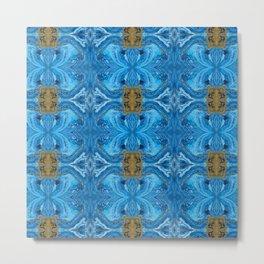 Acrylic Pour Pattern (Blue Gold) Metal Print