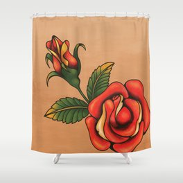 old school tattoo rose Shower Curtain