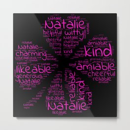 Natalie name gift with lucky charm cloverleaf word Metal Print