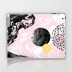 Gloriana - galaxy outer space abstract painting planets moon sun black and white pastel pink gold  Laptop & iPad Skin