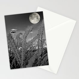 Snow crystals with moon Stationery Cards
