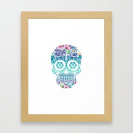 Watercolor floral sugar skull Framed Art Print